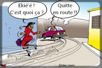 Les chauffards camerounais risquent notre vie au quotidien. Dessin: Morris