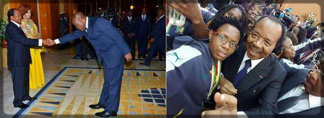 Paul Biya au Palais avec les Lionnes Indomptables