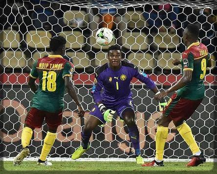 Fabrice Ondoa dans sa cage contre le Ghana