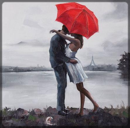 une homme embrasse une femme sous un parapluie