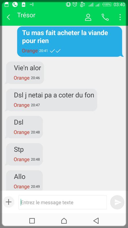 échanges de SMS avec une camerounaise qui veut manger la viande
