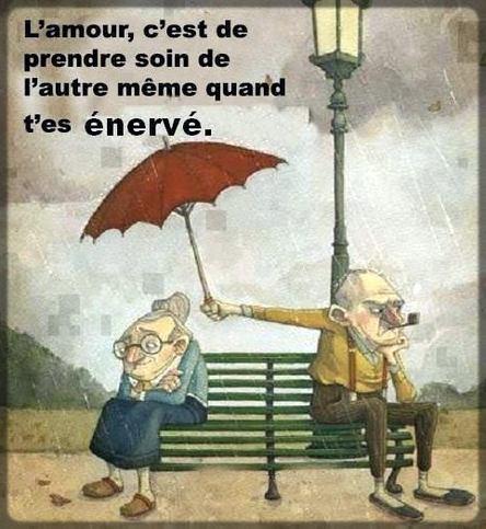dessin d'un vieux qui couvre son épouse avec un parapluie