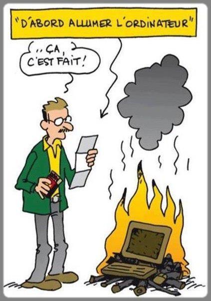 il brûle son ordinateur au lieu de l'allumer