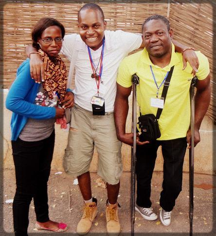 Ecclésiaste Deudjui en compagnie de Elsa Njialè et de Tchakounté Yves Kemayou à Dakar (Sénégal) en 2015