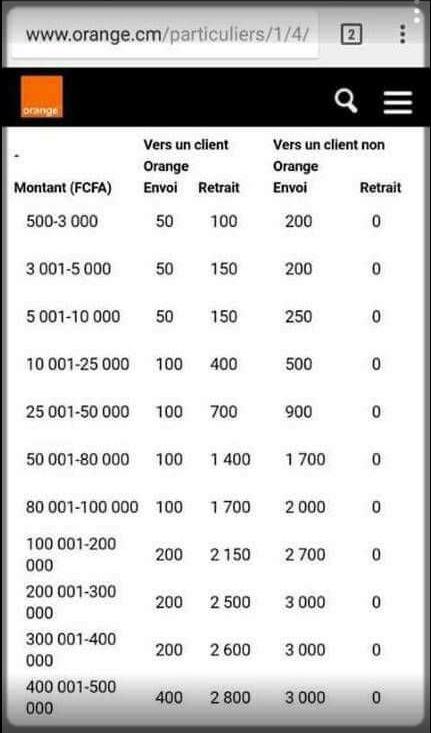grille tarifaire Orange money Cameroun