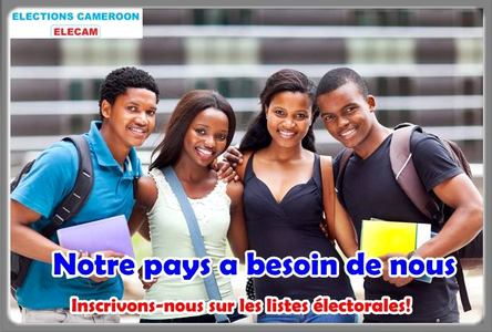 affiche Elecam pour inciter les jeunes Camerounais à s'inscrire sur les listes électorales