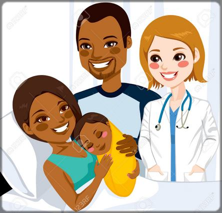 une femme avec son bébé à l'hôpital après l'accouchement