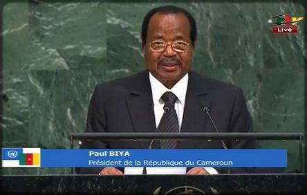 Paul Biya devant la tribune de l'ONU