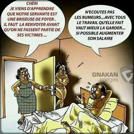 dessin d'un homme qui trompe son épouse avec sa femme de ménage