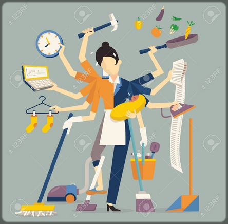 illustration d'une femme de ménage qui fait tout à la fois