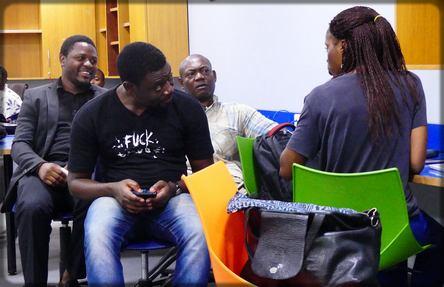 Les blogueurs Fabrice Nouanga, Anna Keds, Mérimé Wilson et Tchakounté Kemayou