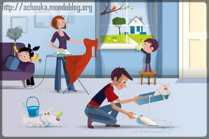 famille qui fait les tâches ménagères