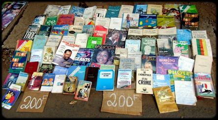 les livres étalés au sol