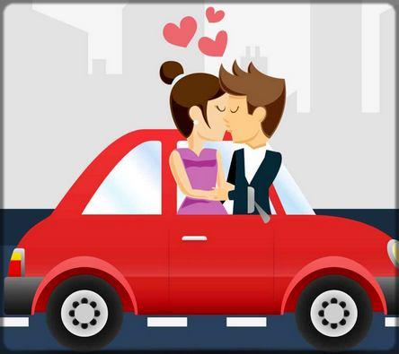 dessin homme et et femme qui s'embrassent dans une voiture