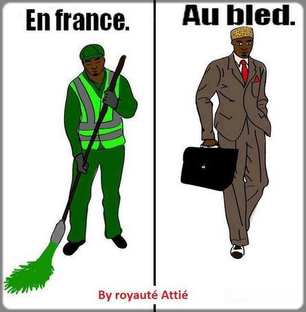 dessin homme noir en Afrique et en Europe