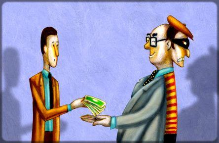 dessin d'un homme qui donne de l'argent à un autre qui a deux visages