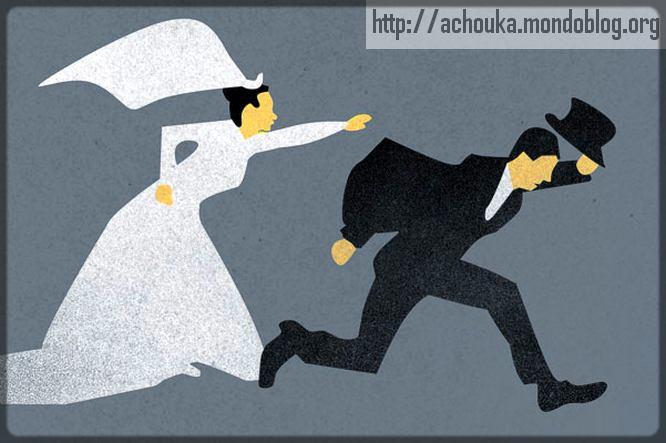 homme marié qui fuit son épouse en robe de mariage