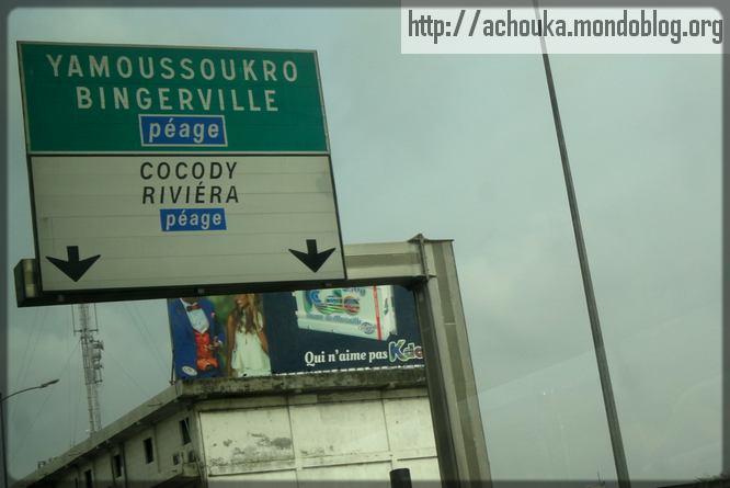 plaque routière en Côte-d'Ivoire