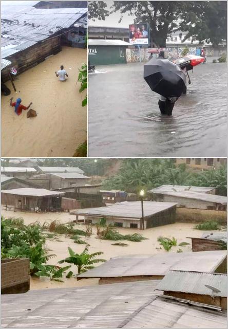scènes d'inondation à Douala
