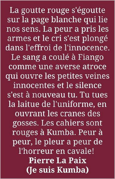 poème de Pierre La Paix Ndamè sur les victimes de Kumba