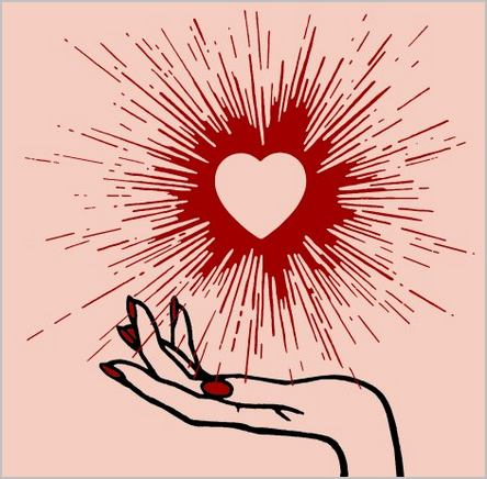 Une main qui tient un cœur