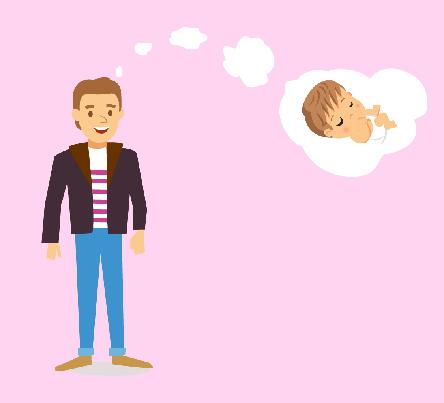 homme célibataire qui pense à un bébé